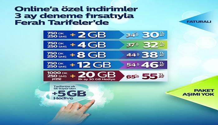 Türk Telekom Online'a Özel 3 Ay Deneme Fırsatı ile Ferah Tarifeler!
